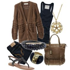 polyvore brown and black | fashion look from March 2012 featuring STELLA McCARTNEY cardigans ...