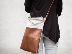 Handtasche nähen: mit Leder und Textildruck! Kostenlose Anleitung :)