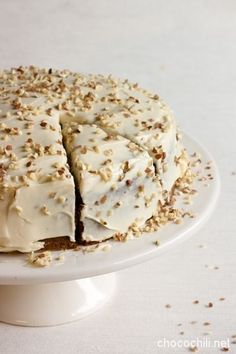 vegan carrot cake, porkkanakakku by Chocochili Sweets Recipes, No Bake Desserts, Vegan Desserts, Baking Recipes, Vegan Carrot Cakes, Vegan Cake, Sweet Pastries, Vegan Baking, Let Them Eat Cake