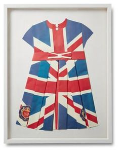 Artist Dawn Wolfe repurposed a print of the Union Jack to create this original folded-paper collage, carefully assembling hand-cut forms into the shape of a pleated dress. The result is a charming,. White Shadow Box, Wood Shadow Box, Shadow Box Frames, British Flag Dress, Boden Clothing, Classic White, Three Dimensional, All Art, Dawn