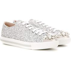 Miu Miu Embellished Glitter Sneakers ($940) ❤ liked on Polyvore featuring shoes, sneakers, silver, silver shoes, decorating shoes, silver sneakers, silver glitter shoes and embellished sneakers