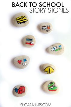 Help kids get used to the steps needed in morning routines with story stones that depict the  preparation and ordering of tasks for back-to-school.