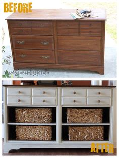 Vintage dresser turned pottery barn - I love when people experiment with the layout of the piece.  Just because it's a dresser doesn't mean you have to keep the drawers!