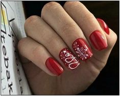 40 Most Popular Winter Nail Art Design Ideas for Christmas Nail art for Christmas - Nail Designs Christmas Nail Art Designs, Winter Nail Designs, Winter Nail Art, Winter Nails, Christmas Design, Spring Nails, Xmas Nails, Red Nails, Red Christmas Nails