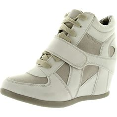 Top Moda Womens Sammy-40 High Top Velcro Womens Hidden Wedge Sneaker... (€35) ❤ liked on Polyvore featuring shoes, sneakers, wedge flats, wedged sneakers, wide shoes, wedges shoes and velcro sneakers