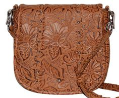 Concealed Carry Tooled Leather Ambidextrous Handbag Purse w/ Holster