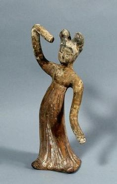Dancing female tomb figure, one of a group of three. Tang Dynasty, century, Red earthenware with traces of red, white and black pigment. Acquired Robert and Lisa Sainsbury Collection. Black Pigment, China Art, Little People, Ancient Egypt, Earthenware, Sculpture, Dance, Female, Highlights
