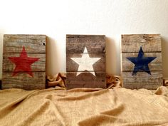 *PRODUCTION TIME IS 6 WEEKS FROM THE DATE OF PURCHASE.* Made to Order Pallet Wood Patriotic American Star Signs - Distressed Rustic Red White and Blue - 4th of July Holiday Wall Decor - Set of 3 {DETAILS} > SIZE: 12 wide by approx. 14-16 tall each > MADE TO ORDER: Choose either