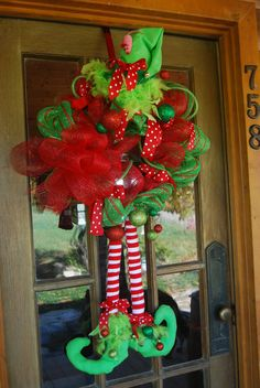 Elf wreath for Christmas with flannel legs,so adorable Christmas Door, Winter Christmas, All Things Christmas, Christmas Holidays, Christmas Ideas, Deco Wreaths, Holiday Wreaths, Holiday Crafts, Wreath Crafts