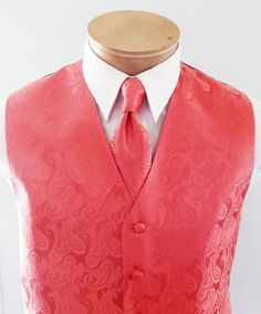 Mens Vest Coral Tone On Tone Satin Paisley Vest Tie And Pocket Square Set by vesterrific on Etsy https://www.etsy.com/listing/195283796/mens-vest-coral-tone-on-tone-satin