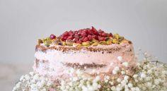 Pistachio Cardamom Cake with Lemon Pomegranate Buttercream.