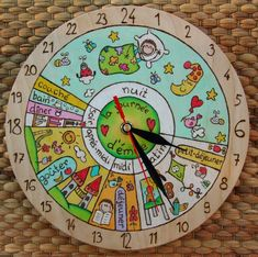 VOTRE KID's 24 h Horloge quotidienne, Routine Quotidienne, horloge enfant - The wall clock Routine, Wall Clock Luxury, Diy For Kids, Crafts For Kids, Clock For Kids, Toddler Schedule, Creative Play, Diy Wall, Kids And Parenting