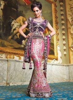 Purple and link bridal lengha