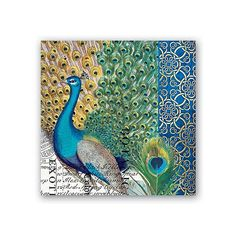 Peacock Napkins Paper Napkins Blue Napkins by perfectpackage