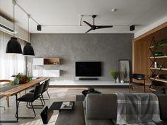 Sala de estar com parede com textura de cimento, piso de madeira parte da parede e teto também revestido com madeira, sofá ilha. Mesa de jantar com tampo de madeira e pés metálicos pretos, cadeiras pretas e de madeira. Apartamento em Taiwan por Awork Design Studio