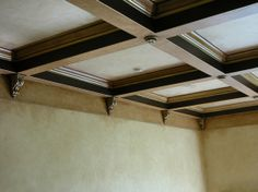 1st Choice for Wood coffered ceilings with recessed painted panels because of budget in sand colored paint as shown. (3)