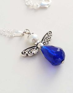 Blue Angel Pendant with Silver Chain by BroadwayDesignz