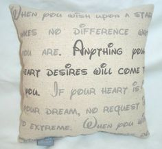 """""""when you wish upon a star"""" pillow."""
