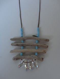 Driftwood Necklace with small turquoise beads and crystals