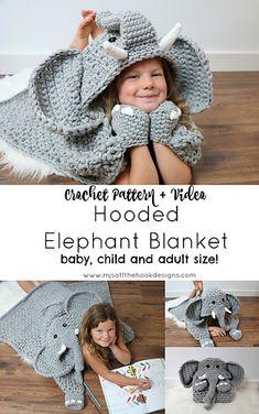 New Hooded Elephant Pattern! 2019 New Hooded Elephant Pattern! MJs off the Hook Designs The post New Hooded Elephant Pattern! 2019 appeared first on Blanket Diy. Crochet Afghans, Crochet Blanket Patterns, Baby Blanket Crochet, Crochet Blankets, Knitting Patterns, Beau Crochet, Crochet For Kids, Knit Crochet, Ravelry Crochet