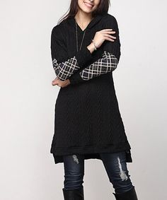 Love this Black Cable-Knit Hooded Plaid Accent Tunic - Plus on #zulily! #zulilyfinds