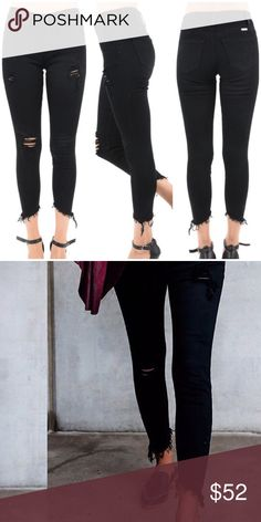 """▫Black Distressed Uneven Hem Denim Black distressed denim with uneven raw hem bottom. So comfy and perfect fall denim. Pair with all your cozy sweaters! Love the details! Modeling 1/24.  65% cotton 33%   rayon 2% Spandex. Measurements as follows: Waist: (0/23) 12"""" (1/24) 12.5"""" (3/25) 13"""" (5/26) 13.5 (7/27) 14"""" Hips: (0/23) 15"""" (1/24) 15.5"""" (3/25) 16"""" (5/26) 16.5"""" (7/27) 17""""  Inseam: 24.5"""" *Bundle 2+ items for discount. Jeans Skinny"""