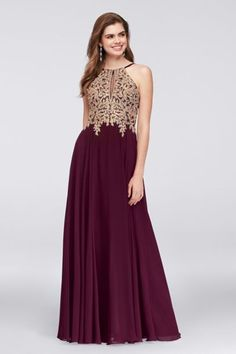 Metallic Corded Lace and Chiffon A-Line Gown 1183X