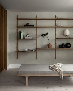 Copenhagen-based lifestyle brand and design studio Frama have conceived a peaceful, minimalist home set in a former horse stables dating back to Oak Wall Shelves, Wall Shelves Design, Thin Shelves, Shelving Decor, Open Shelving, Regal Design, Design Design, Interior Minimalista, Terrazzo Flooring