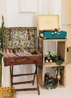 A record player and filled a vintage suitcase with old records was the cherry on top