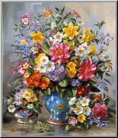 Cheap flower garden oil painting, Buy Quality painting village directly from China flower vase painting Suppliers: DIY Diamond Embroidery Flower Oil Painting Rhinestones Full Square Diamond almaznaya Cross Stitch Home Decoration Moderen Art Floral, Floral Artwork, Decoupage, Illustration Blume, Flowers Gif, Still Life Flowers, Floral Bouquets, Bouquet Flowers, Oeuvre D'art