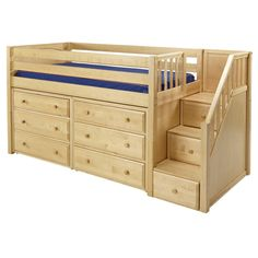Marlowe Low Loft Bed with Dressers and Staircase