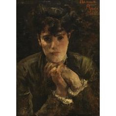 """A portrait of Berthe Morisot by Alfred Stevens. Signed: """"To Edouard Manet"""" 1868"""