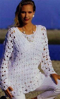 New Crochet Summer Tunic Pattern Free Knitting Ideas T-shirt Au Crochet, Crochet Tunic Pattern, Moda Crochet, Pull Crochet, Crochet Shirt, Crochet Jacket, Crochet Woman, Free Crochet, Crochet Patterns