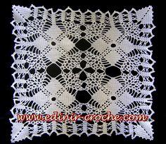 Edinir-Crochê: Croche centro de mesa quadrado com quatro napperon