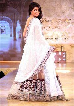 Priyanka Chopra in White Lehenga at Mijwan Fashion Show Online Shopping - Bollywood Replica | B.103W