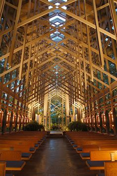 Interior of Thorncrown Chapel - Glass church in Eureka Springs, #Arkansas