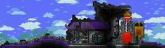 Nothing is impossible in this action-packed adventure game. The world is your canvas and the ground itself is your paint. Terraria House Ideas, Adventure Game, Alchemist, Terrarium, Minecraft, Building A House, Buildings, Base, Explore