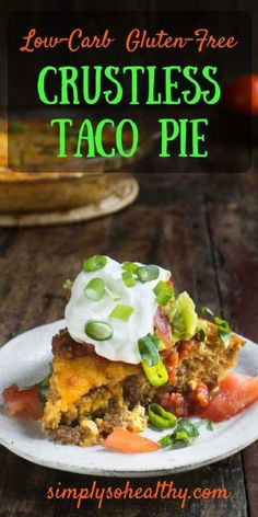 This Low-Carb Crustless Taco Pie makes an easy spicy dinner. Its crustless so not only is it low-carb its also gluten-free and grain-free. This crustless quiche can work in low-carb ketogenic diabetic gluten-free Atkins diabetic and Banting diet Taco Pie Recipes, Paleo Recipes, Mexican Food Recipes, Cooking Recipes, Low Carb Hamburger Recipes, Diabetic Dinner Recipes, Atkins Recipes, Ground Beef Keto Recipes, Easy Recipes