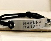 HAKUNA MATATA Quote Bracelet, Leather Bracelet, Stamped Bracelet