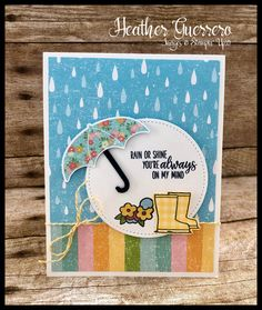 Stampin' Up! Under My Umbrella and the Pleased As Punch Designer Series Paper combine for the cutest card! Scrapbooking, Scrapbook Cards, Umbrella Cards, Mother Card, Rainbow Card, Under My Umbrella, Stamping Up Cards, Get Well Cards, Minimalist Photography
