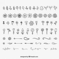 Decoração Floral e ornamentos Vetor grátis