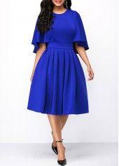 Pleated Cape Sleeve Pocket Royal Blue Dress royal blue hoco dress / royal blue party dress / blue gown royal / white and royal blue wedding / blue dress royal Cheap Blue Dresses, Sexy Dresses, Dresses For Sale, Cute Dresses, Vintage Dresses, Casual Dresses, Dresses For Work, Party Dresses, Summer Dresses