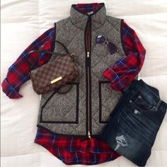 J Crew Herringbone Quilted Puffer Vest EUC- Classic J Crew Herringbone Vest - One of the most popular pieces of the Fall/Winter seasons - A must have - Sold out at J Crew - Brand New - Excellent condition. J. Crew Jackets & Coats Vests