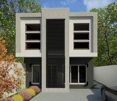 Fachadas de casas de color gris y blanco Fachadas Casas