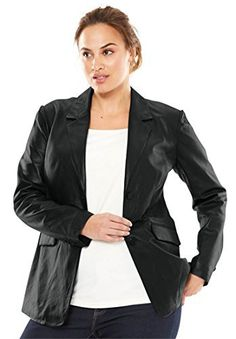 "Product review for Jessica London Women's Plus Size Nappa Leather Blazer.  - A polished staple updated in smooth leather. Three button front. Flap waist pockets. Back vent.28"" length Leather Dry clean only; imported Style & Fit Tips: A polished staple updated in luxe Nappa leather for a modern, on-trend look that you will love. The tailored fit flatters your..."