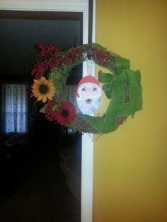 Fall wreath but add Santa for Christmas