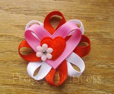 Heart Flower Clippie Valentine's Day  No Slip by FroggyPrincess, $4.00