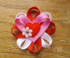 Heart Flower Clippie Valentine's Day No Slip by FroggyPrincess, $4.00