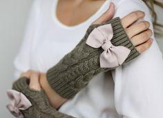 fingerless mittens fingerless knit gloves with bow by gertiebaxter