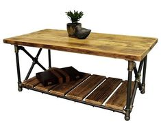 Pipe Desk, Pipe Table, Pipe Shelves, Wood Shelves, Industrial Chic, Vintage Industrial, Coffee Tables For Sale, Pipe Furniture, Houzz